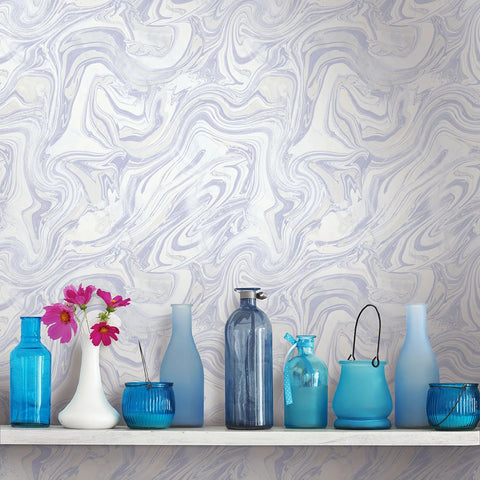 Petra Wallpaper in Blueberry from the Sanctuary Collection by Mayflower Wallpaper