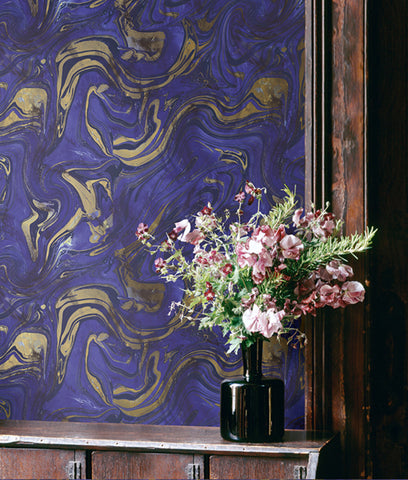 Petra Wallpaper in Purple and Bronze from the Stark Collection by Mayflower Wallpaper