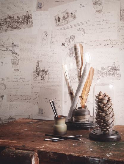 Photos and Letters Wallpaper in Off-White from the Van Gogh Collection by Burke Decor