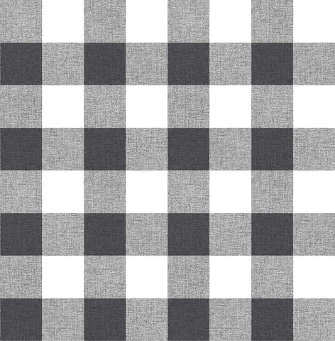Picnic Plaid Peel-and-Stick Wallpaper in Black and White by NextWall
