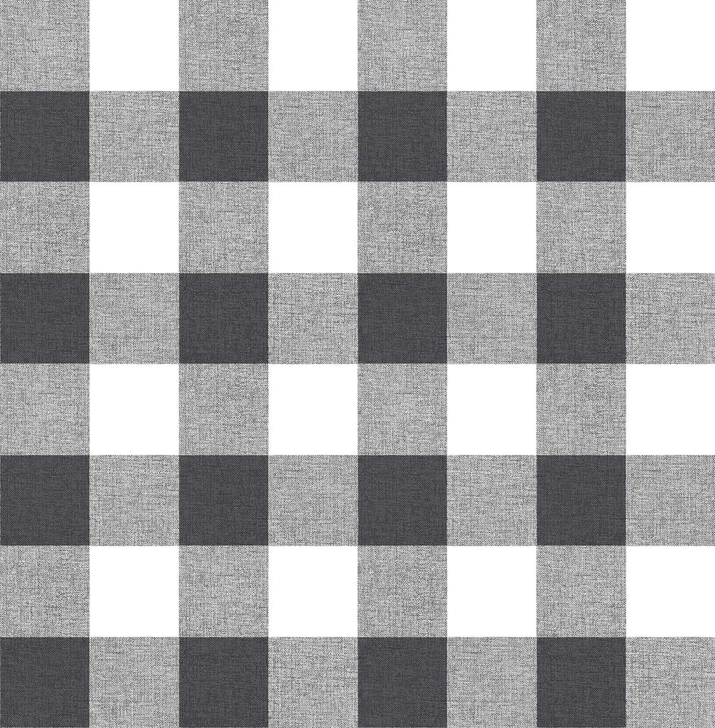 Sample Picnic Plaid Peel-and-Stick Wallpaper in Black and White by NextWall
