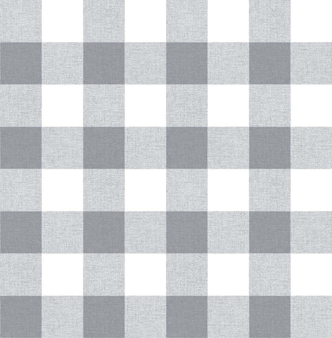 Picnic Plaid Peel-and-Stick Wallpaper in Grey and White by NextWall