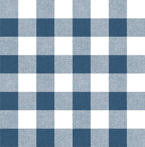 Picnic Plaid Peel-and-Stick Wallpaper in Navy and White by NextWall