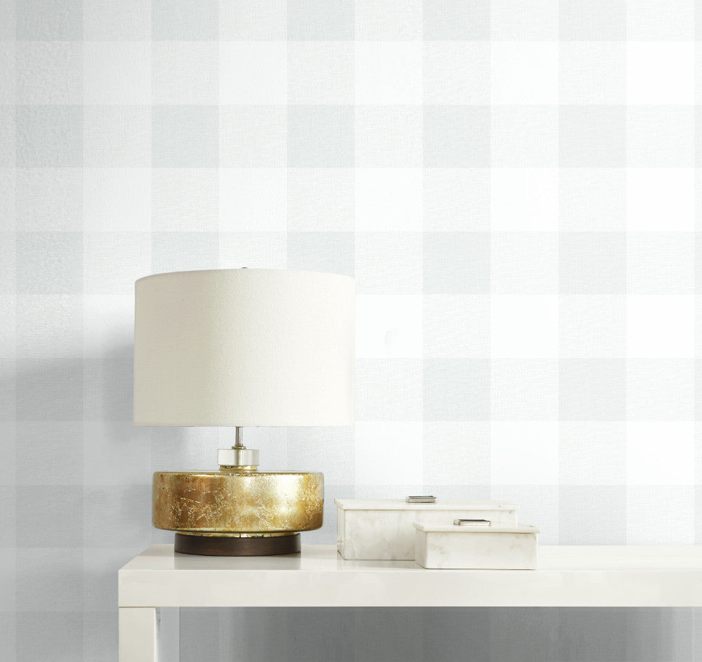 Picnic Plaid Wallpaper in White Sands from the Beach House Collection by Seabrook Wallcoverings