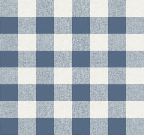 Picnic Plaid Wallpaper in Coastal Blue from the Beach House Collection by Seabrook Wallcoverings