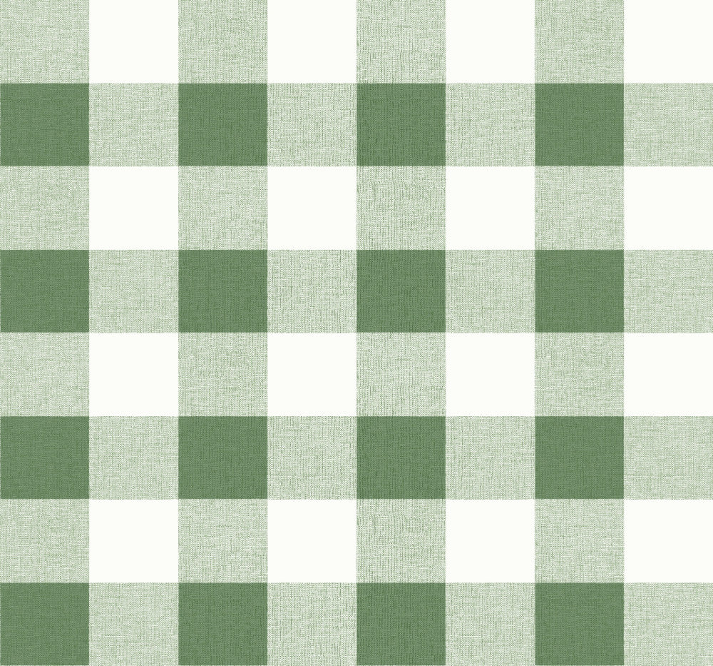 Picnic Plaid Wallpaper in Greenery from the Beach House Collection by Seabrook Wallcoverings