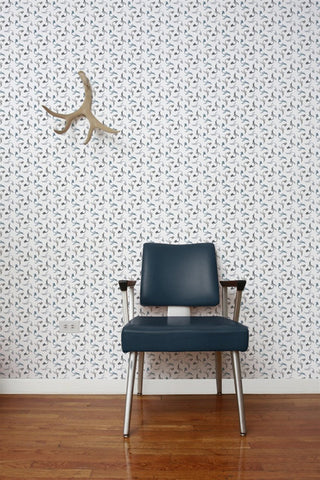 Pigeon Wallpaper in Slate design by Aimee Wilder