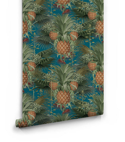 Pineapple Harvest Wallpaper in Blue Moon from the Kingdom Home Collection by Milton & King