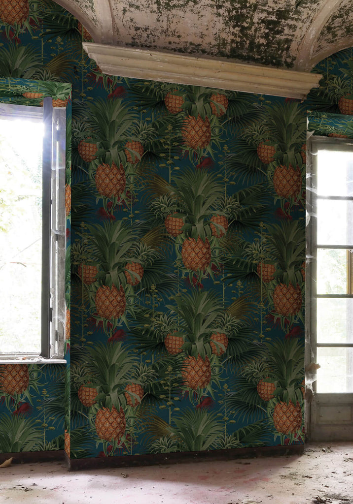 Pineapple harvest wallpaper in blue moon from the kingdom for Home wallpaper collection