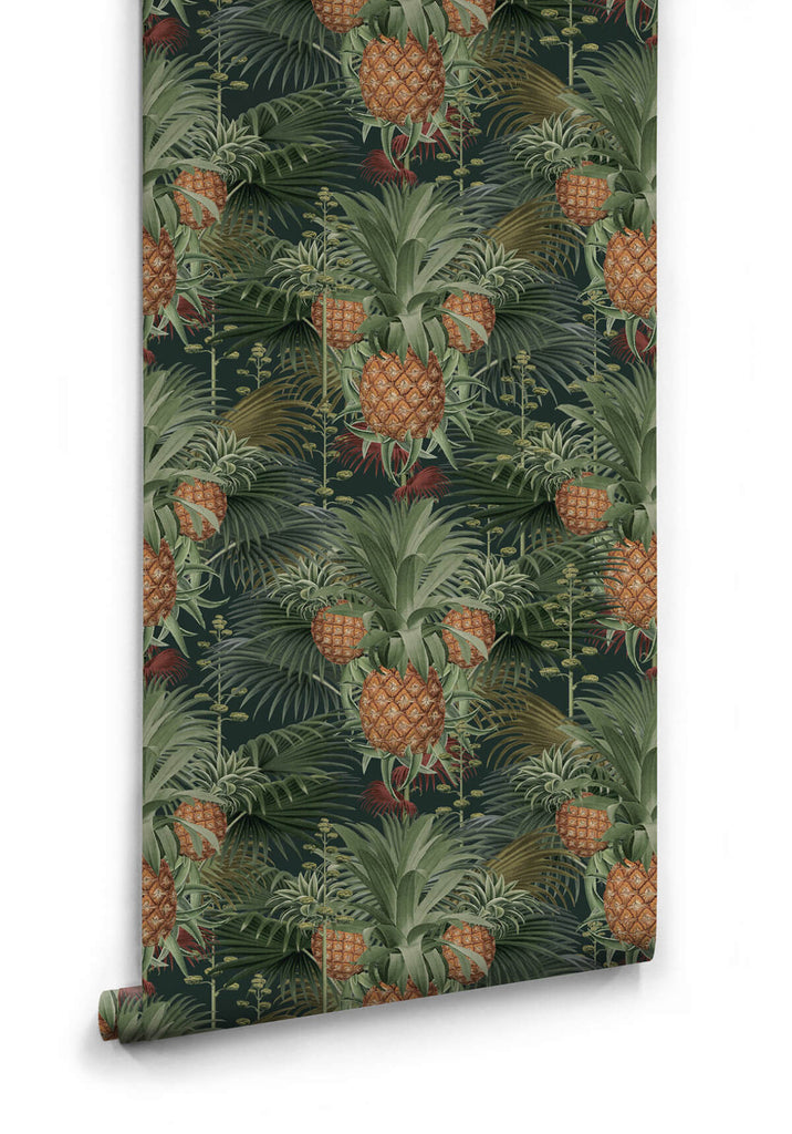 Sample Pineapple Harvest Wallpaper in Night from the Kingdom Home Collection by Milton & King