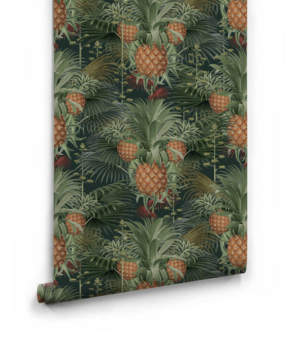 Pineapple Harvest Wallpaper in Night from the Kingdom Home Collection by Milton & King