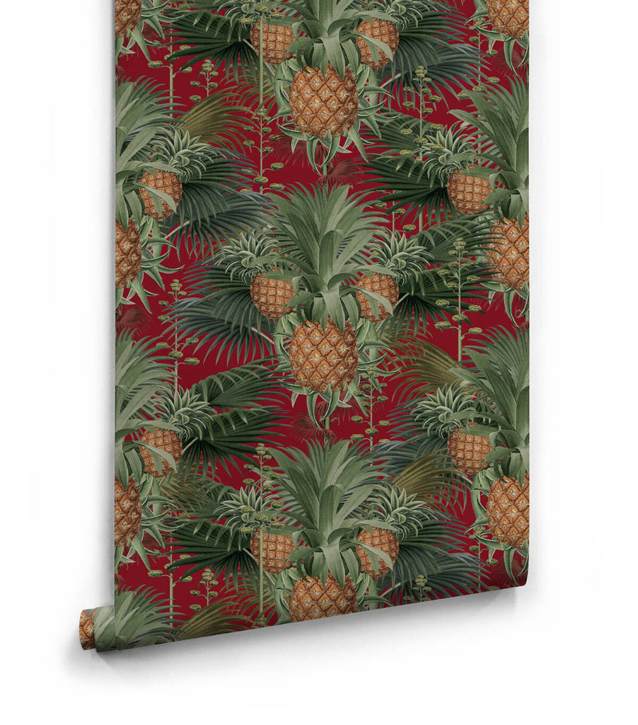 Pineapple Harvest Wallpaper in Red Tide from the Kingdom Home Collection by Milton & King