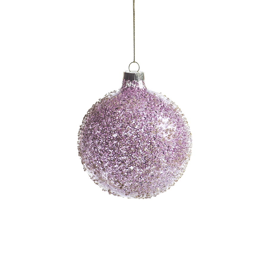 Pink Beaded Holiday Ball Ornament