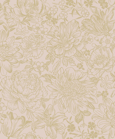 Sample Pink Vintage Textured Floral Wallpaper by Walls Republic