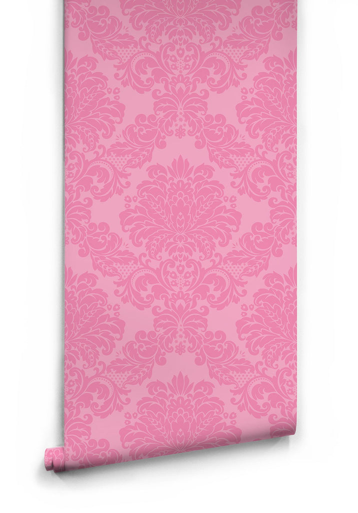 Pink Damask Wallpaper by Muffin & Mani for Milton & King
