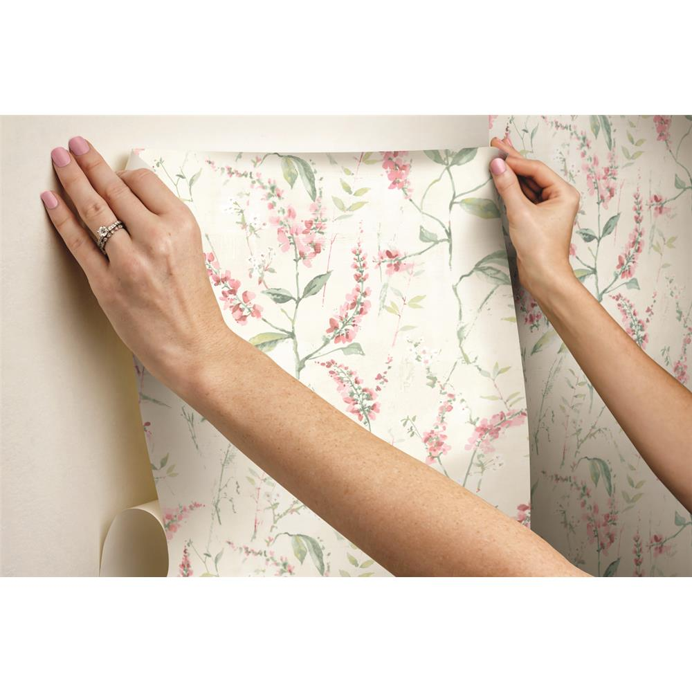 Pink Floral Sprig Peel Stick Wallpaper By Roommates For York