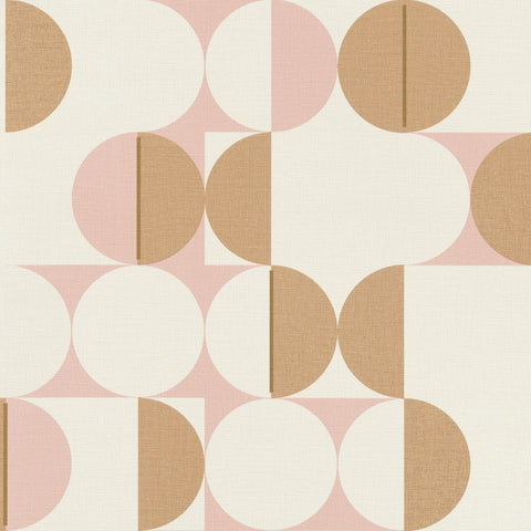 Sample Pink & Gold Metallic Circles in Motion Wallpaper by Walls Republic