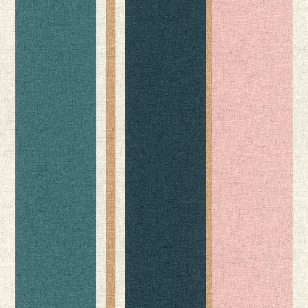 Sample Pink & Teal Bold Varied Stripe Wallpaper by Walls Republic