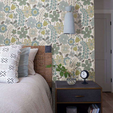 Piper Floral Wallpaper in Green from the Bluebell Collection by Brewster Home Fashions