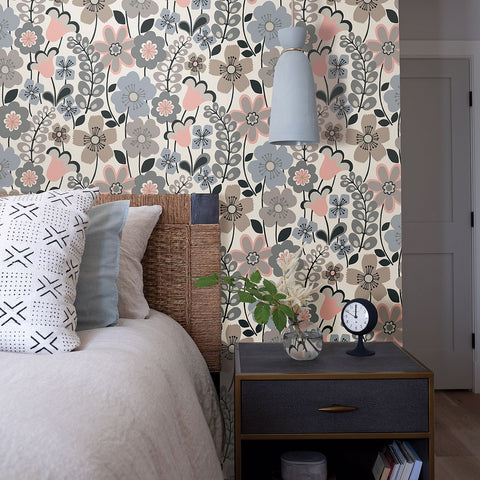 Piper Floral Wallpaper in Light Blue from the Bluebell Collection by Brewster Home Fashions