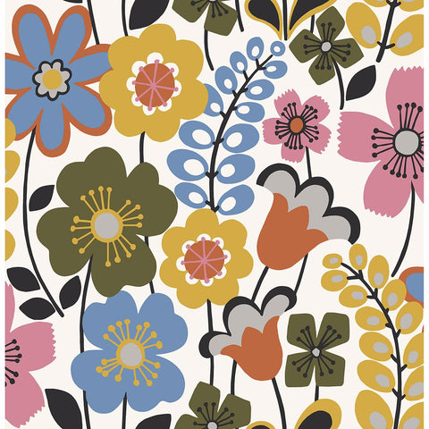 Piper Floral Wallpaper in Multicolor from the Bluebell Collection by Brewster Home Fashions