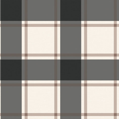 Plaid Self-Adhesive Wallpaper in Black and Ivory design by Tempaper