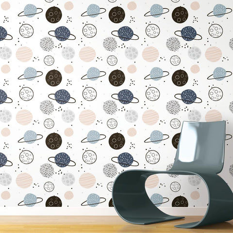 Planets Peel & Stick Wallpaper in Beige by RoomMates for York Wallcoverings
