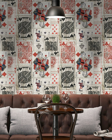 Playcards Wallpaper in Black and Red from the Eclectic Collection by Mind the Gap