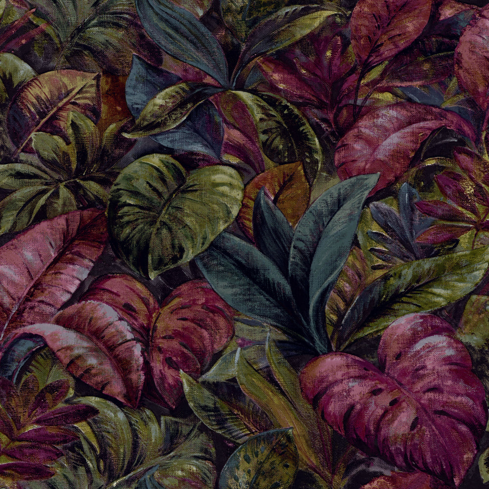Plum Thick Jungle Foliage Wallpaper by Walls Republic