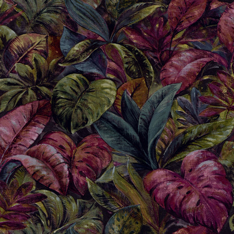Sample Plum Thick Jungle Foliage Wallpaper by Walls Republic