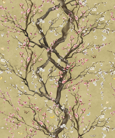 Plum Blossom Wallpaper in Gold from the Kingdom Home Collection by Milton & King