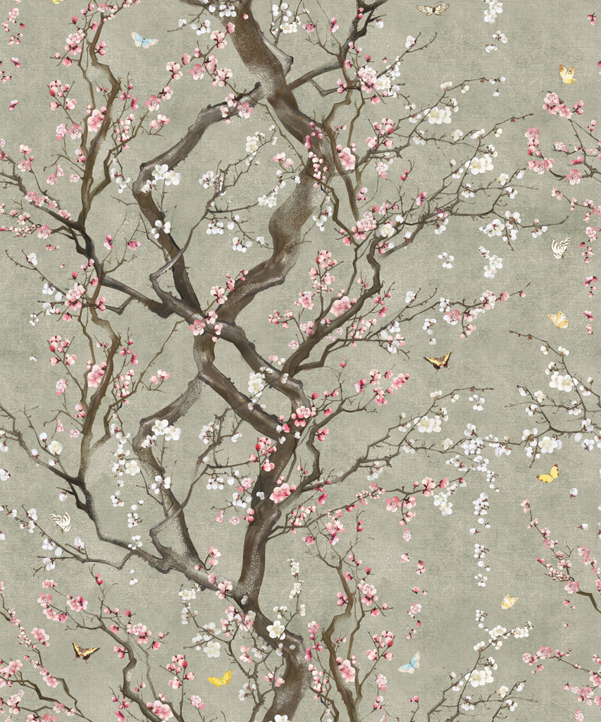 Sample Plum Blossom Wallpaper in Silver from the Kingdom Home Collection by Milton & King