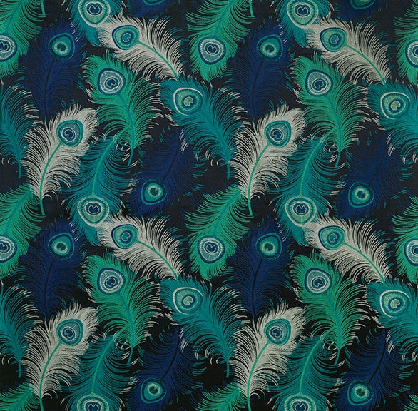 Plumas fabric in peacock ink and mint by matthew - Tissu ameublement art deco ...