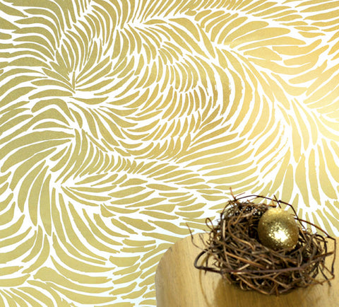 Plume Wallpaper in Rich Gold design by Jill Malek