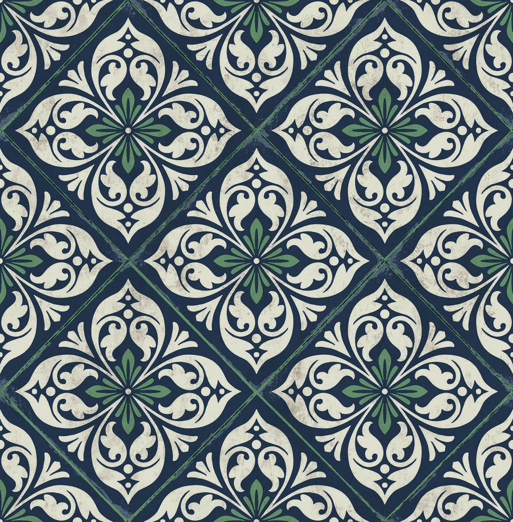 Sample Plumosa Tile Wallpaper in Midnight Blue and Spearmint from the Luxe Retreat Collection by Seabrook Wallcoverings