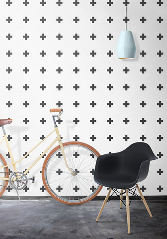 Plus Sign Wallpaper by Ingrid + Mika for Milton & King
