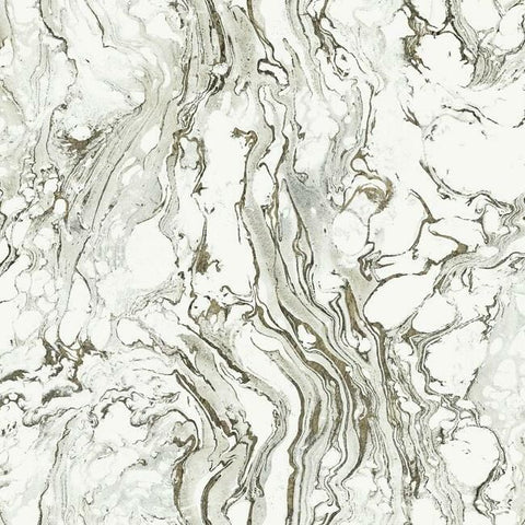 Polished Marble Wallpaper in Black and White from the Ronald Redding 24 Karat Collection by York Wallcoverings