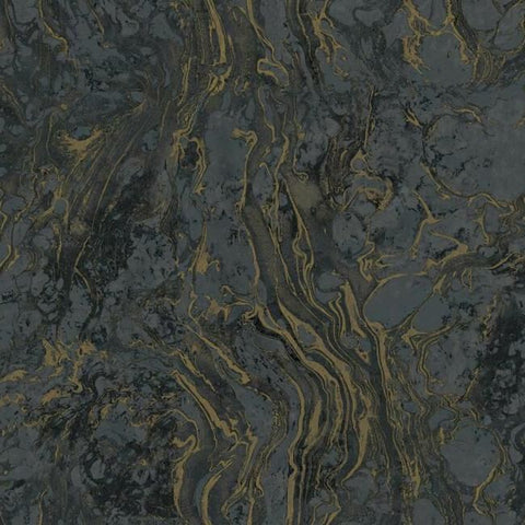 Polished Marble Wallpaper in Black from the Ronald Redding 24 Karat Collection by York Wallcoverings