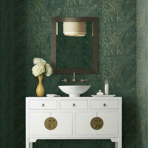 Polished Marble Wallpaper in Green from the Ronald Redding 24 Karat Collection by York Wallcoverings