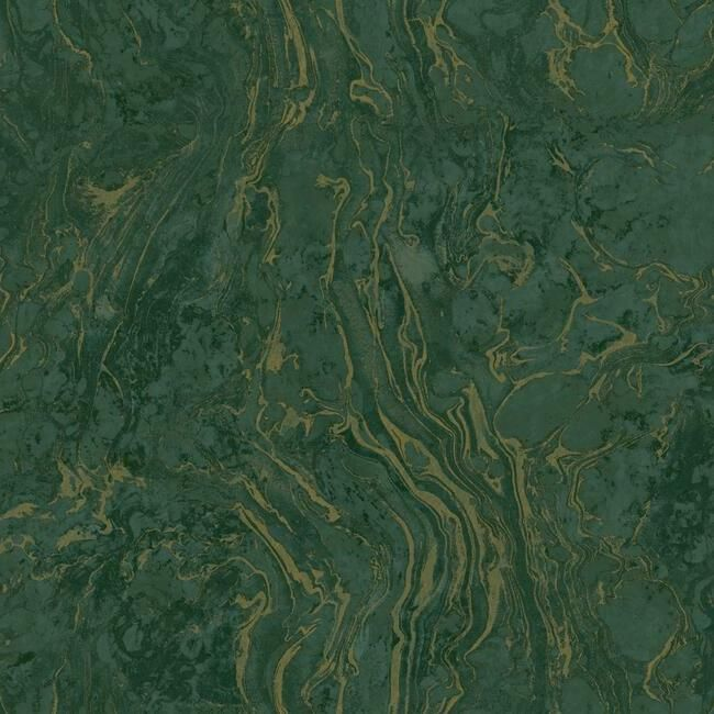Sample Polished Marble Wallpaper in Green from the Ronald Redding 24 Karat Collection by York Wallcoverings