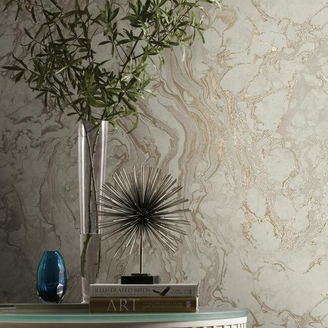 Polished Marble Wallpaper in Taupe from the Ronald Redding 24 Karat Collection by York Wallcoverings
