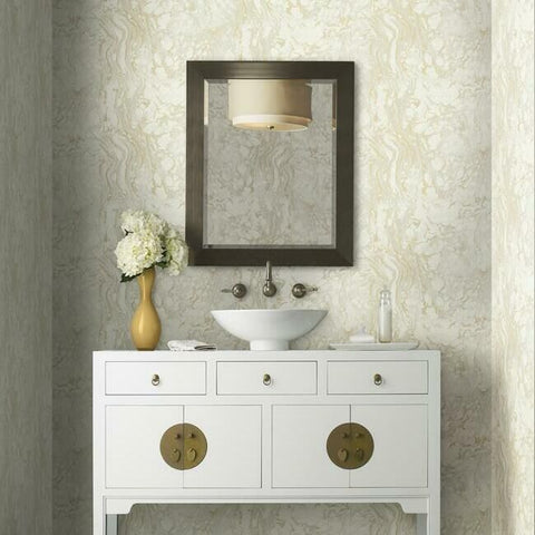 Polished Marble Wallpaper in White and Gold from the Ronald Redding 24 Karat Collection by York Wallcoverings