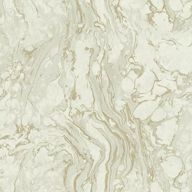 Sample Polished Marble Wallpaper in White and Gold from the Ronald Redding 24 Karat Collection by York Wallcoverings