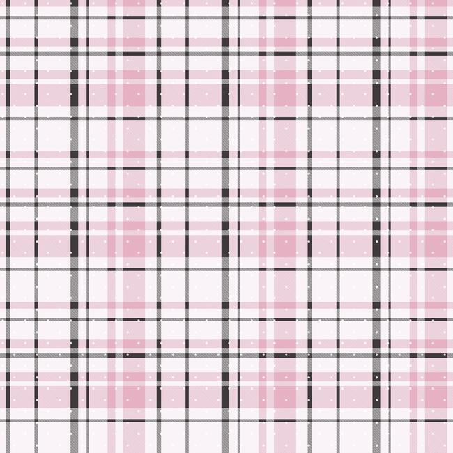 Polka Dot Plaid Wallpaper in Pink and Black from the A Perfect World Collection by York Wallcoverings