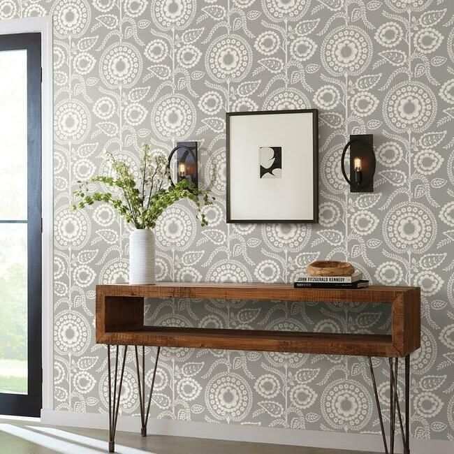 Pomegranate Bloom Wallpaper in Grey from the Silhouettes Collection by York Wallcoverings