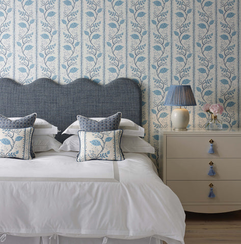 Pomegranate Trail Wallpaper in Indigo and Blue from the Ashdown Collection by Nina Campbell for Osborne & Little