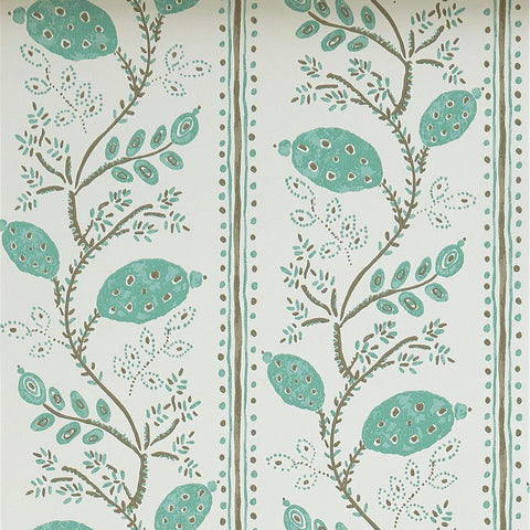 Pomegranate Trail Wallpaper in Aqua and Taupe from the Ashdown Collection by Nina Campbell for Osborne & Little