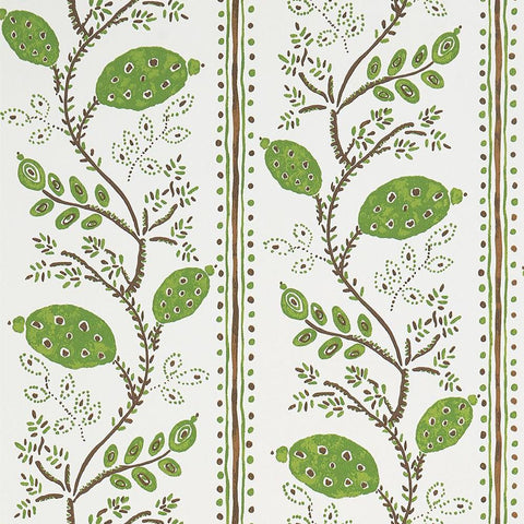 Pomegranate Trail Wallpaper in Green and Chocolate from the Ashdown Collection by Nina Campbell for Osborne & Little
