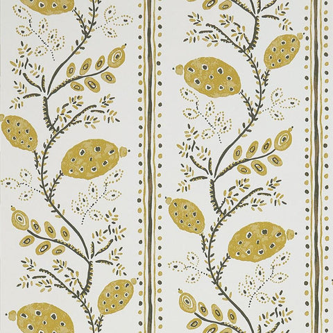 Pomegranate Trail Wallpaper in Ochre from the Ashdown Collection by Nina Campbell for Osborne & Little