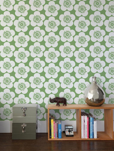 Pop Floral Wallpaper in Leaf design by Aimee Wilder